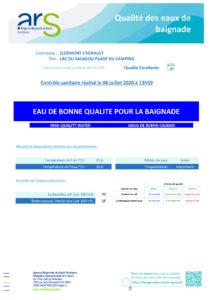 Qualité de l'eau de baignage Clermont l'Hérault