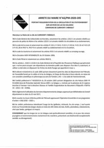 Arrêté AG/PM-2020-205 du Maire Berges Lac de Salagou