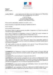 Arrêté N°2020-01-363 portant réglementation déplacements Hérault