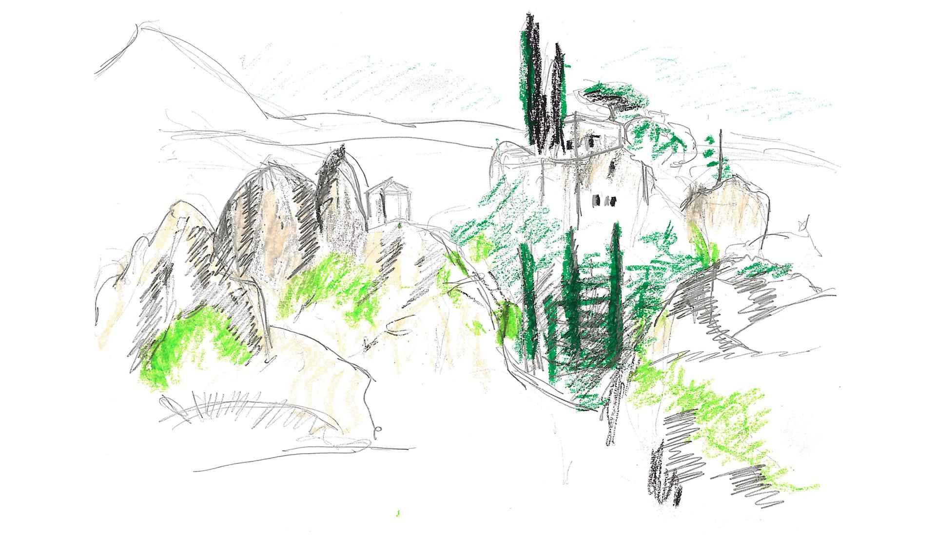 Dessin village de Mourèze Grand site