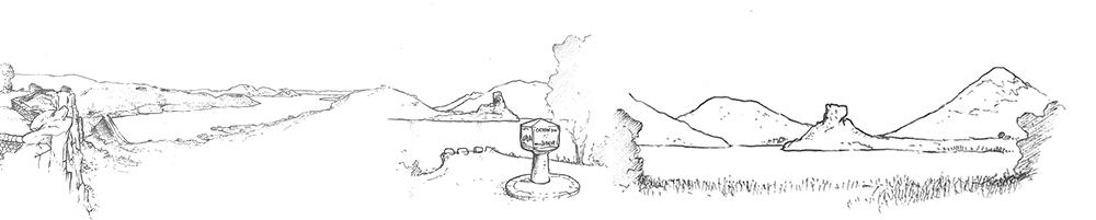 Dessin basalte volcanique grand site Salagou Moureze